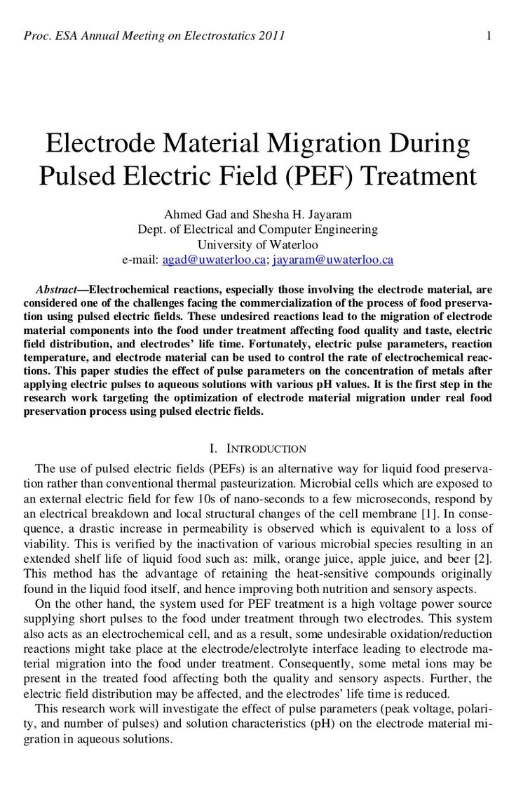Electrode Material Migration During Pulsed Electric Field (PEF) Tre...