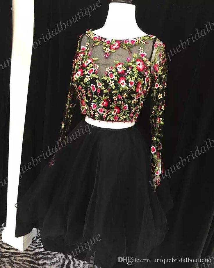 Ajax 2017 Homecoming Dresses with Long Sleeves And Colorful Floral Real Photo Little Black 8th Grade Graduation Dress Special Occasion Dresses Homecoming Dresses 2 Pieces Homecoming Dresses Online with $149.72/Piece on Uniquebridalboutique's Store | DHgate.com