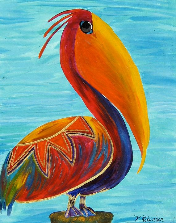 Pelican Bird whimsical colorful Tropical KeROBinson Original Fine Art Painting 16x20. $229.00, via Etsy.