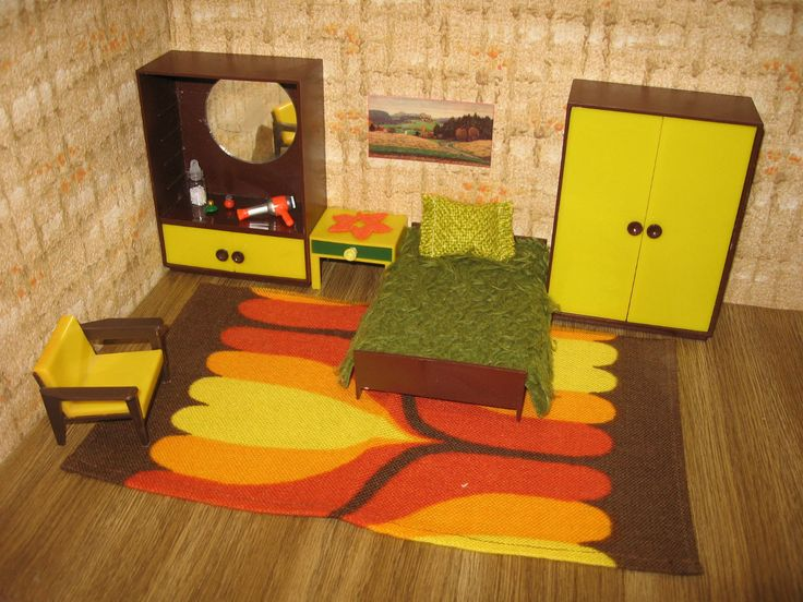 German dollhouse bedroom  ca  1960 s  The colors may have made it hard to. 68 best Mini Mods   Mid Century Modern Doll Houses images on