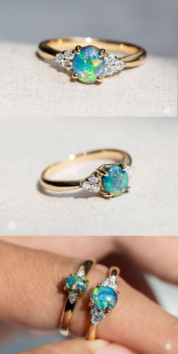Exquisite Rainbow Australian Solid Black Opal Diamond Engagement Ring 18K Gold with Beautiful Play of Color. Jelly Bean Shaped Opal Ring. Free Jewelry Box! Every Opal piece is Unique. You won't find two exactly identical opal gems because of their unrepeatable play-of-color. | eBay!