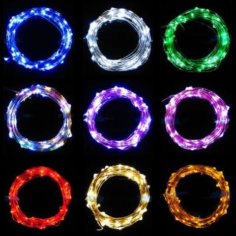 2m 3m 4m Micro LED Battery Operated String Lights Silver Copper Wire Xmas Decor