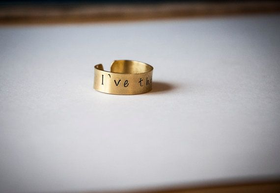 Brass band ring with personalized quote or by SilviaWithLove