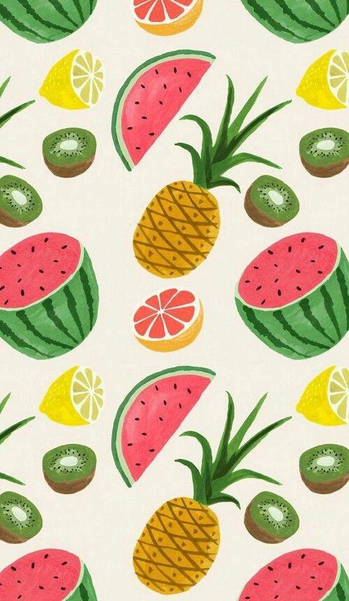 экран блокировки, фон, обои, арбуз, ананас, лимон, фрукты, киви, экран, обои для рабочего стола