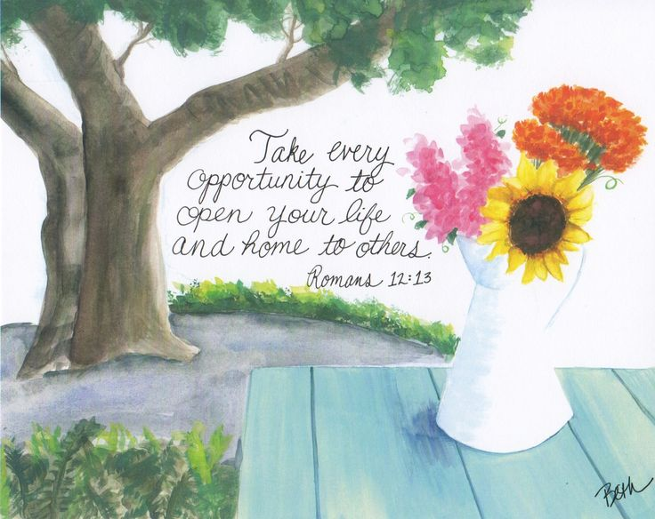Take every opportunity to open your life and home to others. Romans 12:13 // free printable for your home