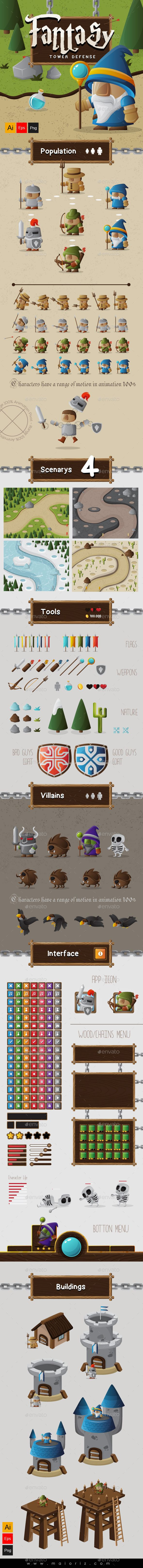 Fantasy Tower Defense Assets $29 Fantasy Game Assets. Suitable COMPLET game. Perfect for games or video animations. CONTENTS: -Characters Evolution. -Villains Characters. -4 maps -Game interface. -Tools / Elements / Weapons. -Buildings Evolution. FEATURES 100% Vector (AI + EPS 10). NOTES Not include fonts -rgb color Mode.