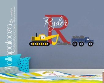 Custom name Construction Kids Wall Decal by WallapaloozaDecals