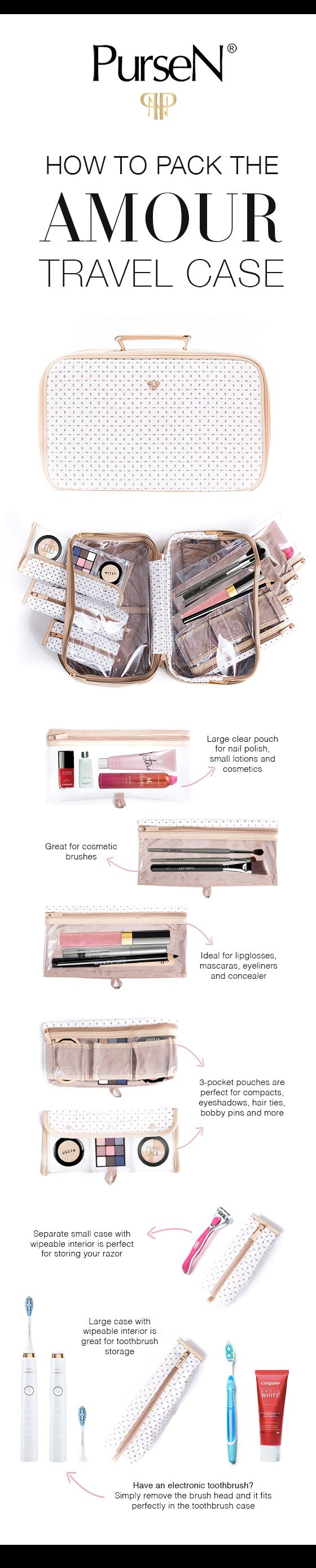 The best toiletry bag organizer by PurseN- the Amour Travel Case. #cosmeticbag #makeupbag