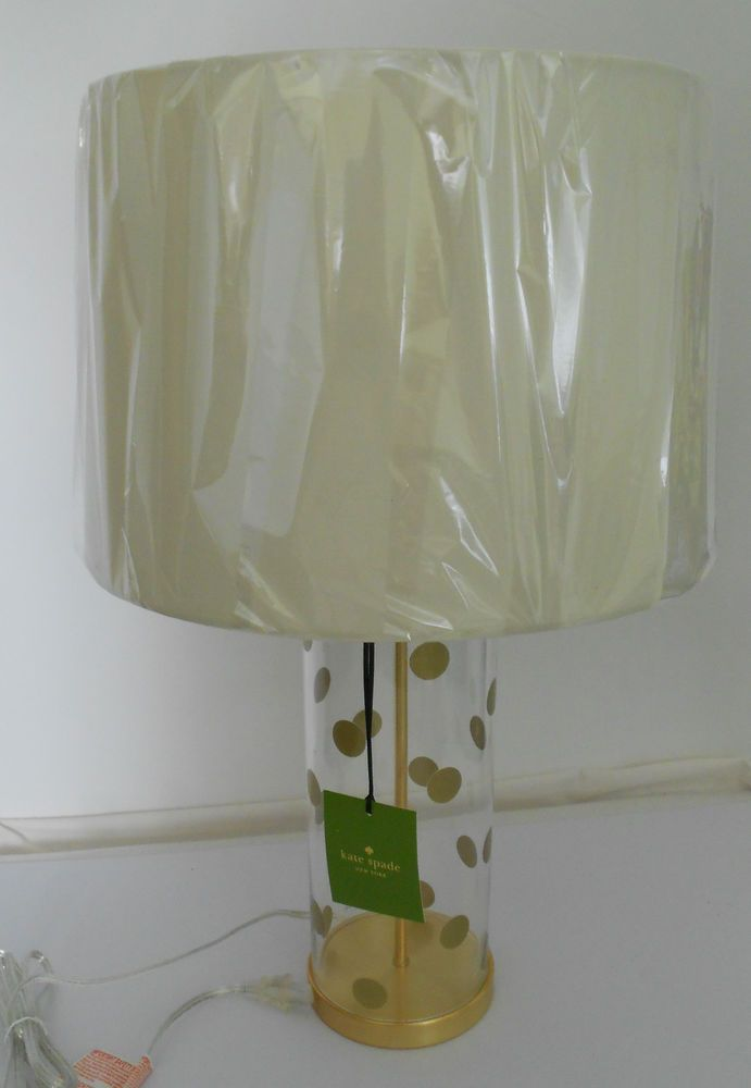 Kate Spade Table Cylinder Lamp Clear Base Gold Polka Dots White
