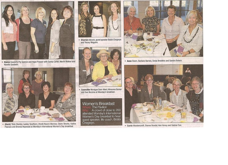 Illawarra Mercury - Keynote Speaker at the International Women's Day Breakfast, Kiama   www.askcoachbobbi.com