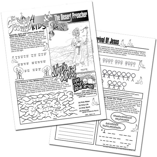 John chapter 1:19-28, John the Baptist is a History-Activity-Puzzle Work Sheet for the kids to have a better understanding of John the Baptist started his ministry.