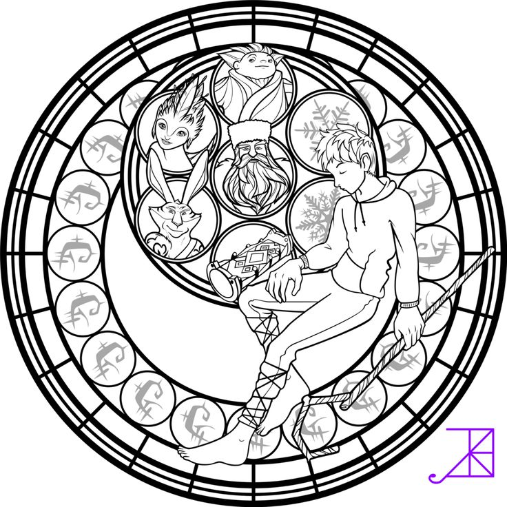 Jack Frost Stained Glass Coloring Page By Akili Amethystdeviantart On