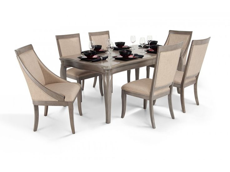 discount dining room furniture sets | Gatsby 7 Piece Dining Set With Side Chairs & Swoop Chairs ...