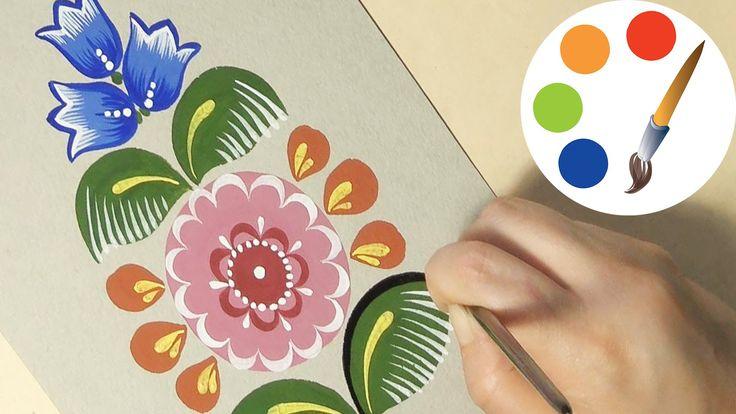 Рисуем городецкий цветок #3, Gorodetsky paint a flower, irishkalia