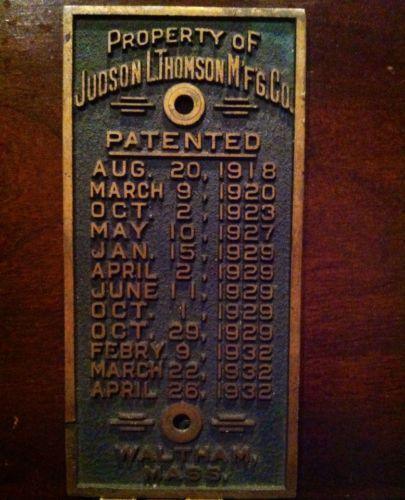 1918-32-JUDSON-L-THOMPSON-MFG-CO-WALTHAM-MASS-BRASS-PROPERTY-PLATE-PATENT-DATES