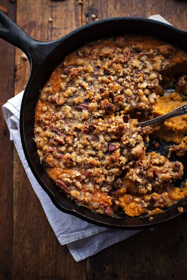 Super Easy Sweet Potato Casserole with Pecan Crumble... This is the recipe I use but I sub the sugar for half the amount of honey.. yummmm