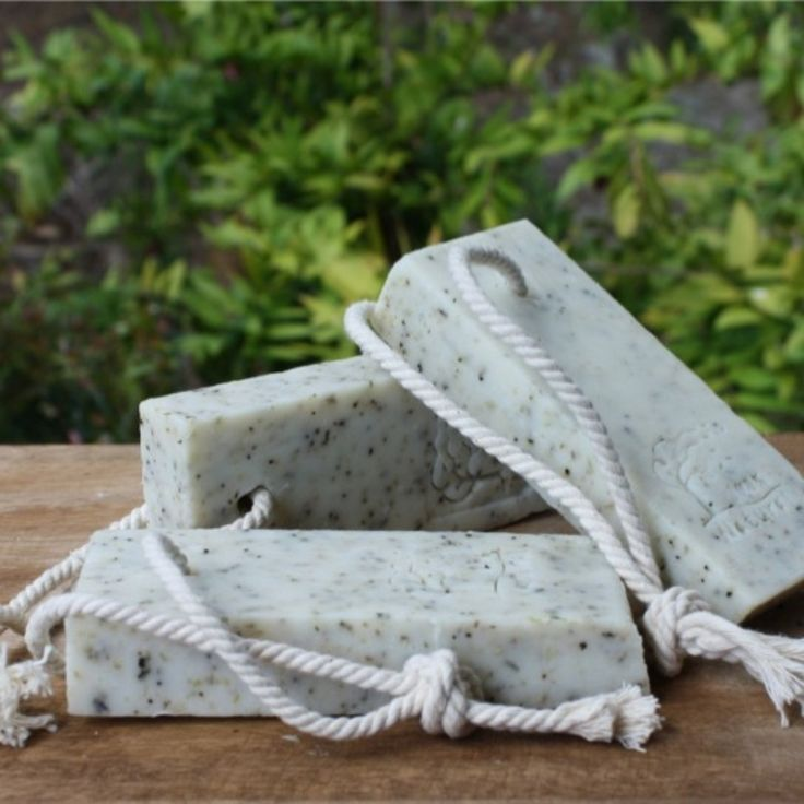 Gardener's soap, all natural with eucalyptus, poppy seeds and oatmeal.