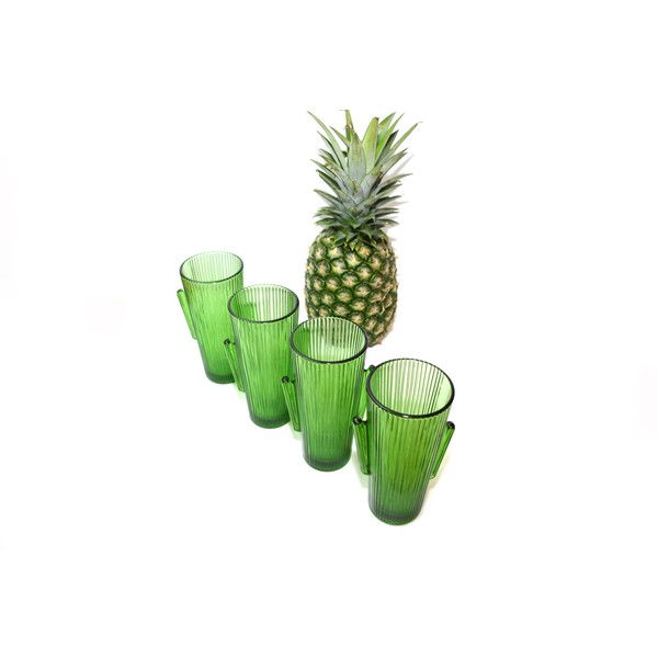Vintage Green Cactus Glass Libbey Cactus Glass Southwestern Glasses... (€46) ❤ liked on Polyvore featuring home, kitchen & dining, drinkware, water glass, glass shot glasses, glass drinkware, libbey glassware and outdoor drinkware