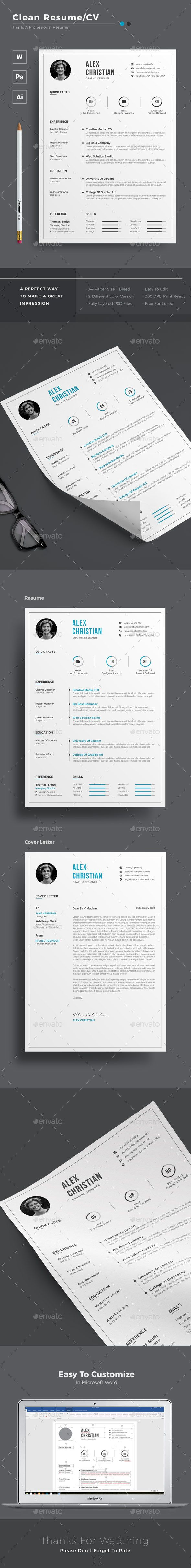 Clean Resume Download%0A  creative  modern  Resume  template   professional Resumes Stationery   design