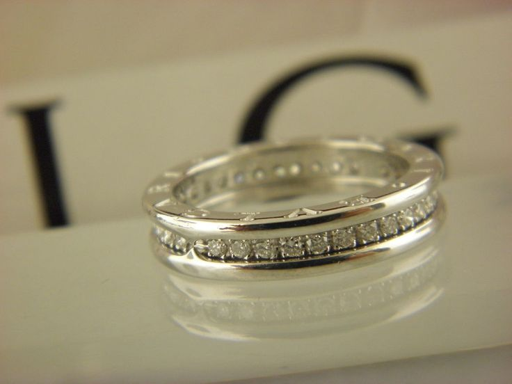 bvlgari bzero1 white gold 18kt one band pave diamond ring sz 55 us