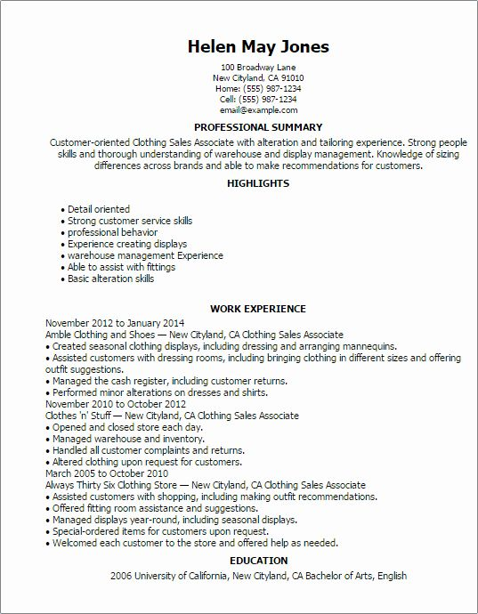 50 Inspirational Clothing Sales Associate Resume In 2020 Sales Resume Examples Sales Resume Good Resume Examples