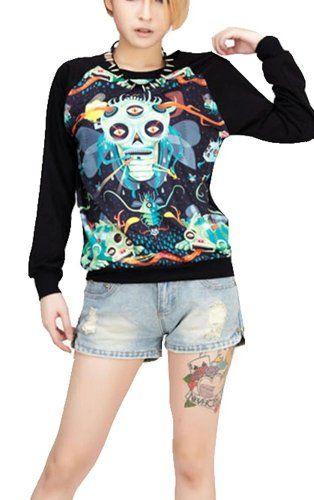$40.79 cool Harajuku Wind Loose Comic Skeleton Ghost Female Sweater