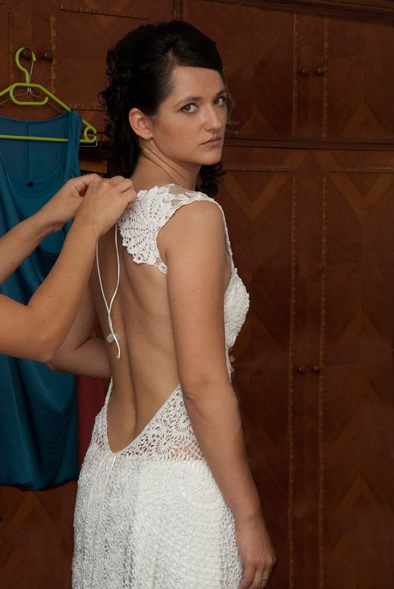 unique one of a kind hand made crochet wedding dress
