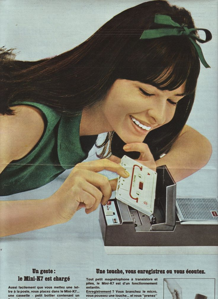 Yé-yé girl Chantal Kelly in an advertisement for a cassette recorder. More about her, and a song of hers, at the link. #YéyéGirls #French60s #French60sPop #Yéyé #1960s #60sAdvertising