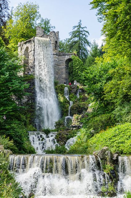 Trick fountains in the Palace Gardens at Wilhelmshoehe, Kassel, Germany
