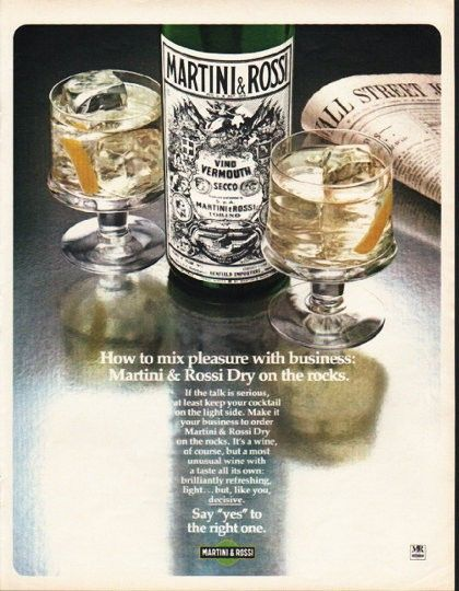"""1980 MARTINI & ROSSI vintage magazine advertisement """"How to mix"""" ~ How to mix pleasure with business: Martini & Rossi Dry on the rocks. - If the talk is serious, at least keep your cocktail on the light side. Make it your business to order Martini & ..."""