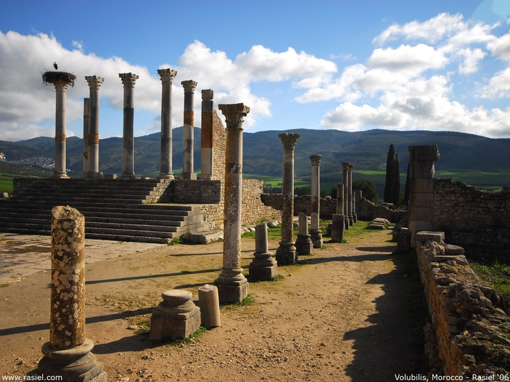 Volubilis, Algeria. A city created by the only surviving child of Cleopatra VII and Marc Anthony, Selene II and her husband Juba II