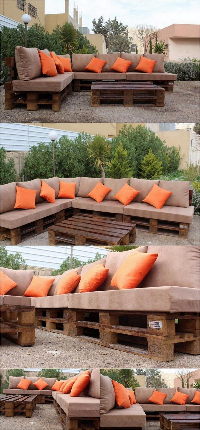 L Shaped Couch Furniture For Garden Diy Palletfurniture Pallets Palletwood Palletsofa Diy Garden Furniture Pallet Patio Furniture Pallet Furniture Outdoor