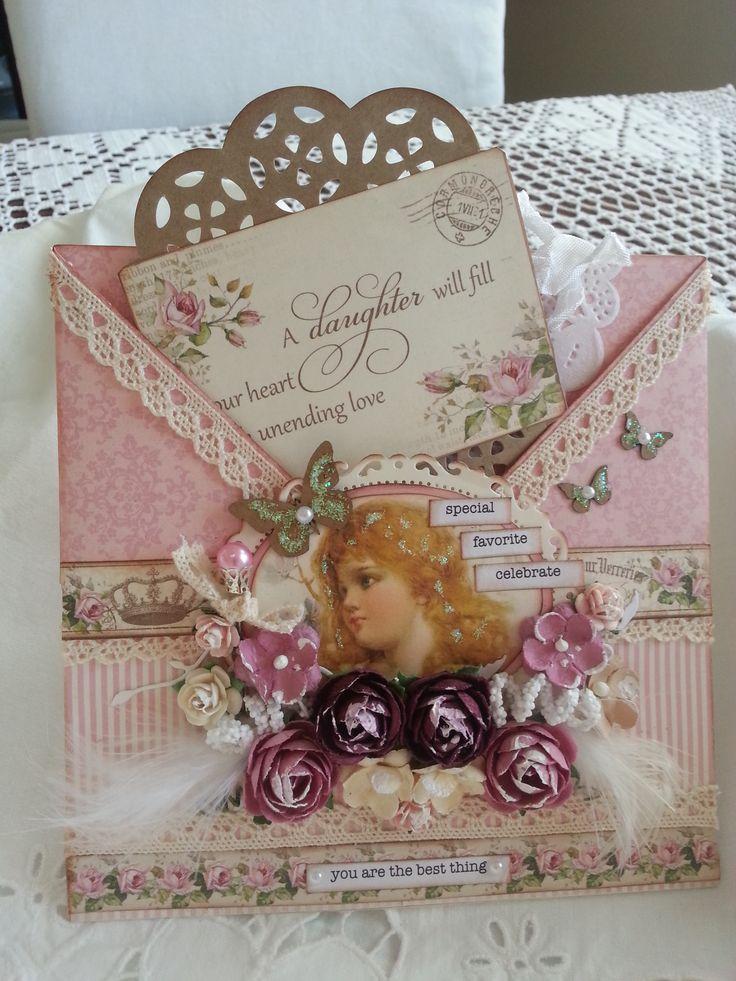 Konvoluttkort med papirer fra Piondesign's Precious daughter