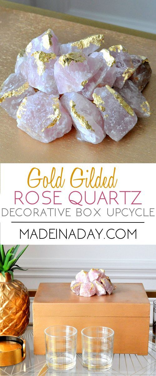 Gilded Rose Quartz Decorative Box Makeover Decorative Boxes Thrift Store Crafts Upcycled Crafts