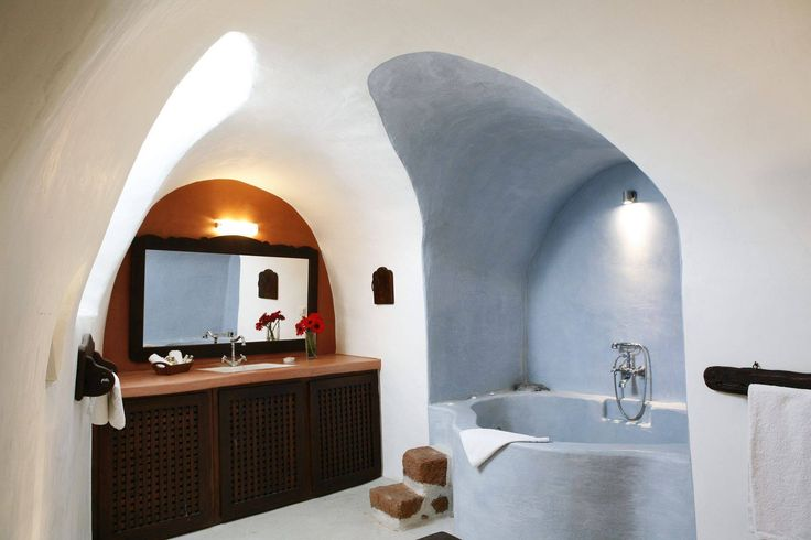 The ample and stylish bathroom! #Santorini