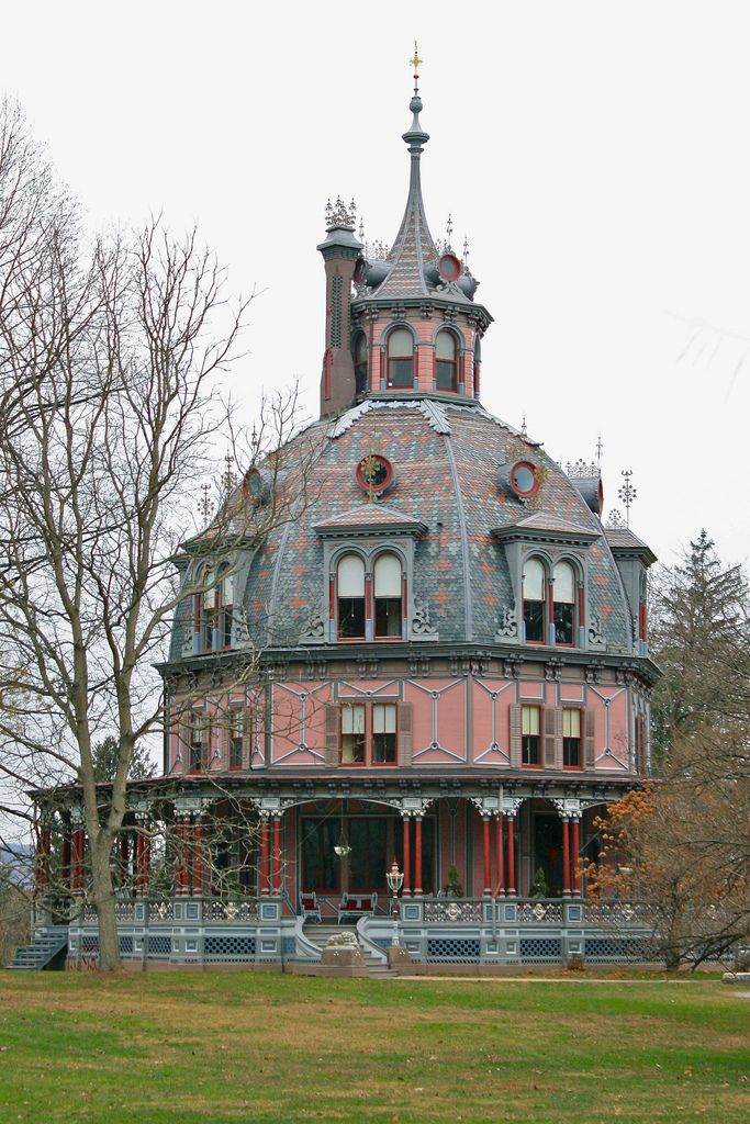 The Armour-Stiner House, also known as the Carmer Octagon House, Irvington, NY -- a unique octagon-shaped and domed Victorian style house built in 1859-1860 by financier Paul J. Armour. The octagon style has been referred to as the brain house, and rightfully so. Before he designed houses, architect Orson Fowler practiced phrenology, the study of the skull's bumps and contours to determine one's character.