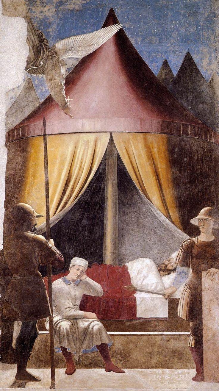❤ - PIERO DELLA FRANCESCA - (1415 - 1492) -  Vision of Constantine. Fresco.  Basilica di San Francesco, Arezzo,Italy.