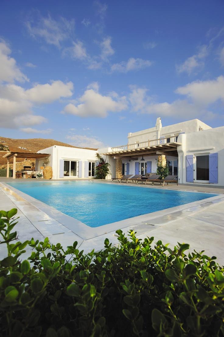 White and blue Mykonos style at Luxury Villa Aesara in Mykonos, Greece