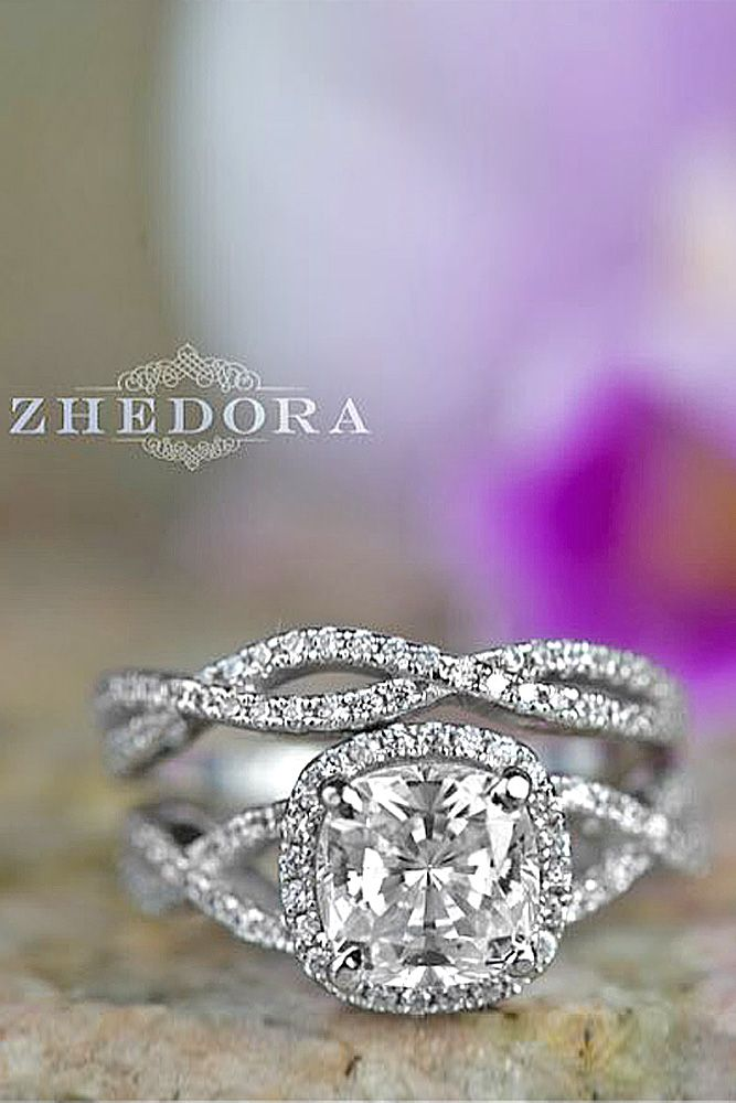 cushion cut pave band engagement rings