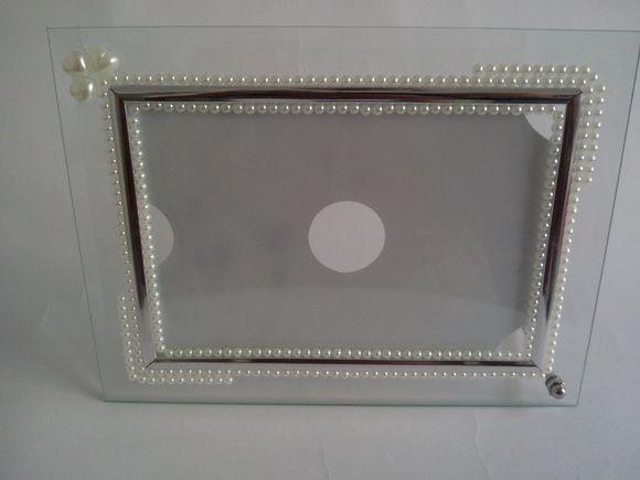 Porta Retrato de Vidro com Pérolas