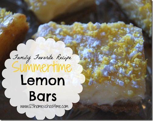 Family Favorite Recipe ~  Summertime Lemon Bars!