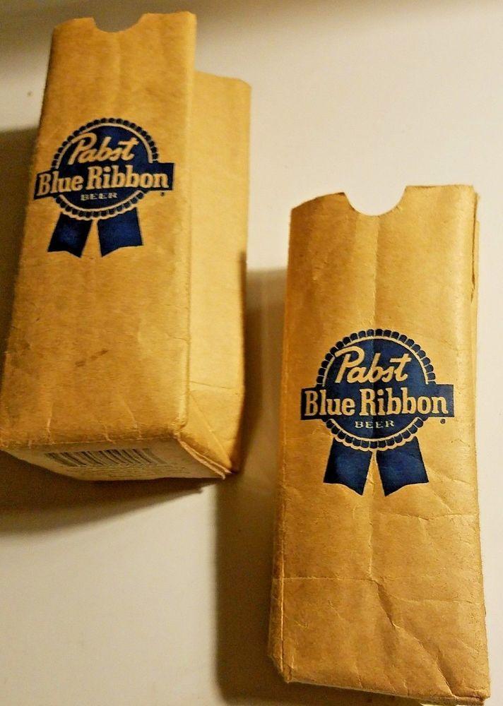 Set Of 2 Pabst Blue Ribbon Pbr Paper Bag Koozie Brown Promotionals
