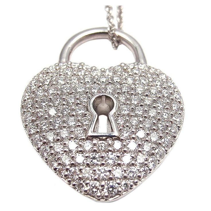 TIFFANY & CO Diamond Heart Lock Pendant Platinum Necklace