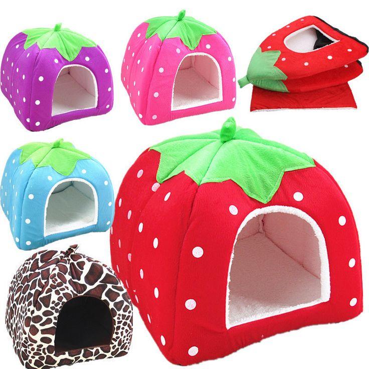 新しいペット用品高品質犬ハウスソフトイチゴ猫ウサギのベッドハウス犬小屋位ウォームクッションバスケット用子犬ホーム