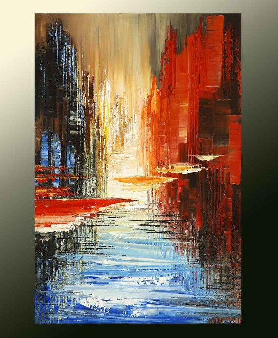 Este es un hecho por encargo, original, 100% a mano pintado recreación de una pintura ya vendida.  Crearé una nueva pintura, similar a una foto, pintada con cuchillos de paleta y textura que el original... un uno de una buena, pintura original para ti!  Listo para enviar: 6-10 días laborales.  TÍTULO: CIUDAD EN EL TIEMPO TAMAÑO: 20 X 30 x 3/4 MEDIO: acrílico TÉCNICA: espátula, cepillo de SOPORTE: Galería envuelto lona estirada y montado sobre barras de madera de 3/4.  Lados de la te...