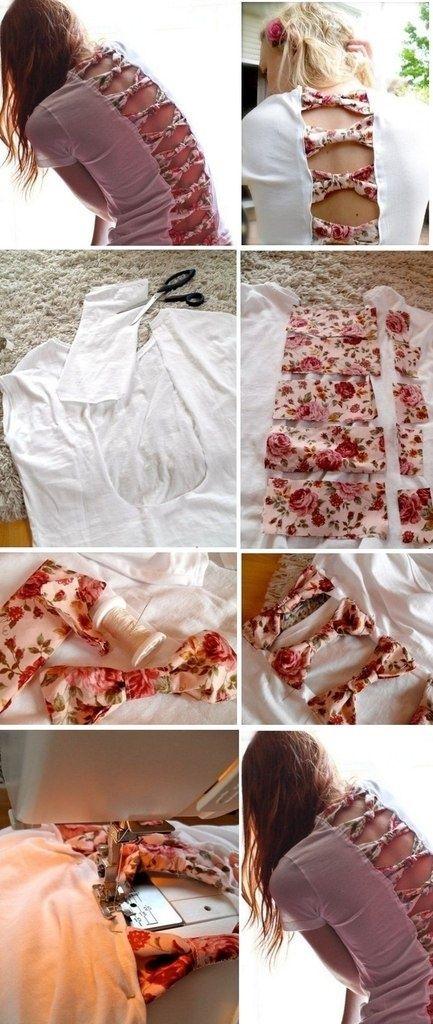 Separe algumas tira de tecido colorido e faça uma customização daquela camiseta que não usas mais.