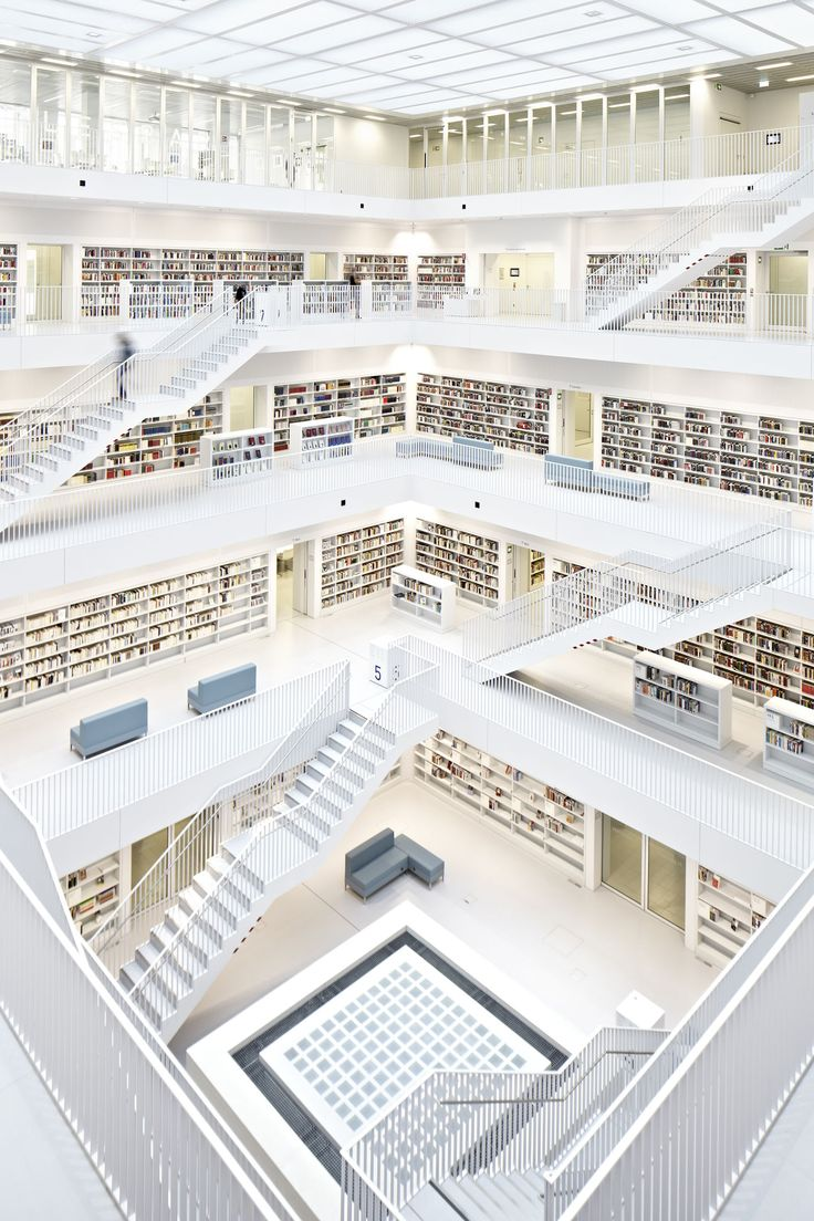 From the architect. The site for the Stuttgart City Library was chosen in Mailänder Platz, an area that is perceived to be a future city centre growing out of the location of the library. With this in mind, the architects chose to physically express th...