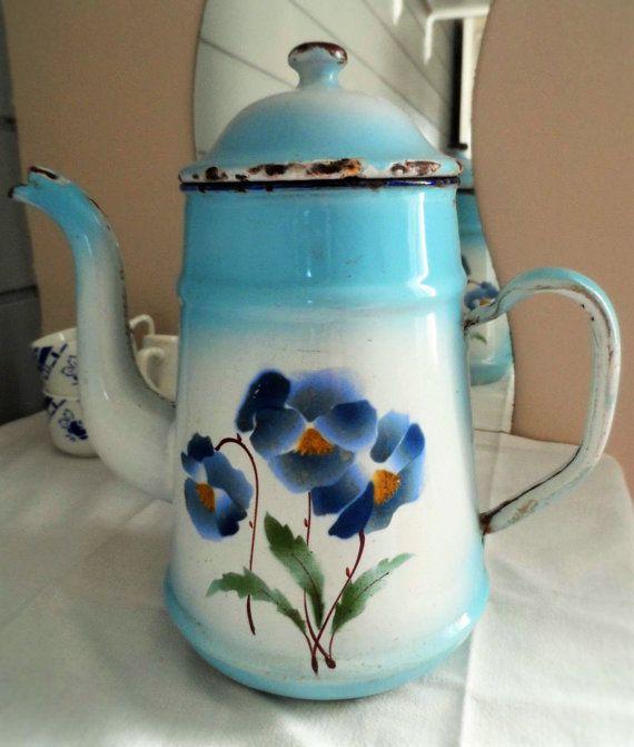 French Classic Vintage Aquamarine Enamel Coffee by uniqueenamel