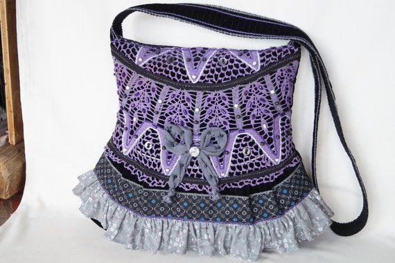 Violet crocheted lace large size vintage bag by bokrisztina