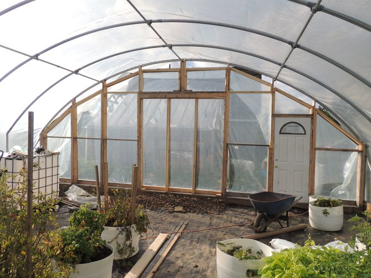 Greenhouse Plastic Installed on Front End Wall